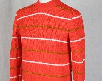 1960s / 1970s Vintage Womens Carol Brent Pullover Sweater - Orange, Cream, Dark Tan - Excellent Condition