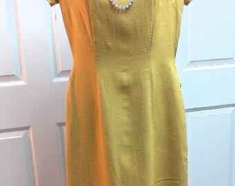 Vintage Mr Z San Francisco Dress Yellow Short Sleeve Summer Dress