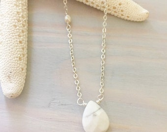 White Gemstone Necklace - Delicate Necklace - Dainty Gemstone Necklace - Simple Stone Necklace - Layering Necklace - White Howlite Necklace