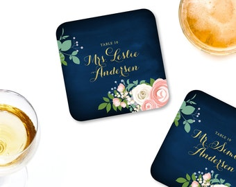 The JENNY . Escort Drink Coasters & Guest Names . Gold Calligraphy Navy Pink Peony White Rose Ranunculus . PRINTED 4 x 4 Rounded Thick Board