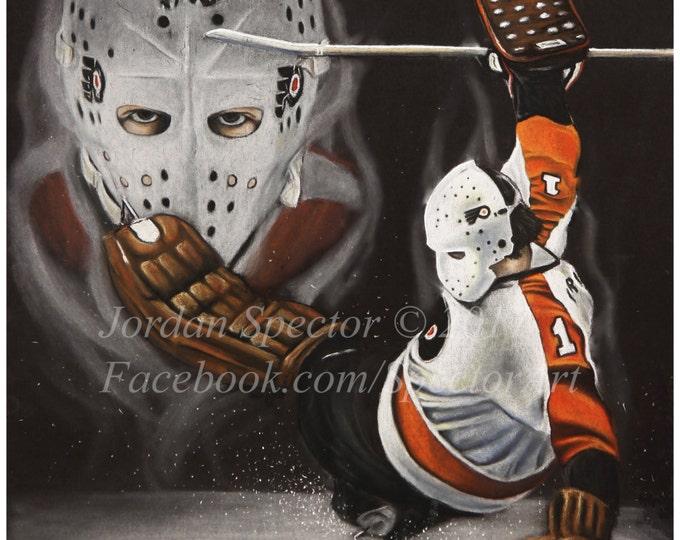 Featured listing image: Bernie Parent - Philadelphia Flyers - Art Print - Philadelphia Art - Man Cave - Flyers Painting - Dorm Decor - Flyers Fans - Flyers Hockey