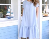 Wide linen dress with short sleeves. Handmade linen tunica with pleated skirt. Loose dress with side pockets and belt.