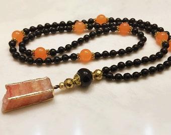 Bar Necklace. Long Necklace. 108 Mala Necklace. Gemstone Necklace. Column Necklace. Agate and Topaz Necklace. Boho Long Necklace. #MN13