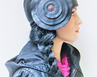 Black leather hat with flower soft pink lining