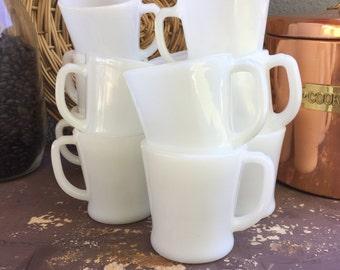 Milk Glass Mug Fire King Mug Anchor Hocking Mug D Handle Mug Milkglass Mug Diner Mug White Vintage Mug Set of 4 Fire King White Mugs