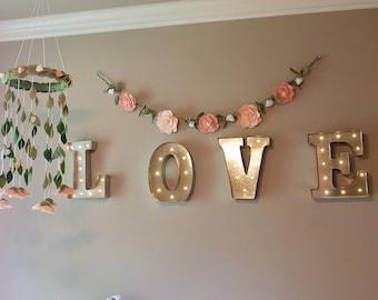 Baby Girl Nursery Decor Gift Set - Blush, pink, ivory - Floral Nursery Decor - Blush Baby Shower Gift Set