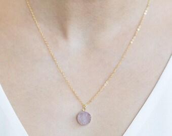 Druzy Necklace Gold Druzy Necklace, Crystal Necklace, Pink Druzy Necklace, Drusy Necklace, Druzy Jewelry, Bridesmaid Gifts