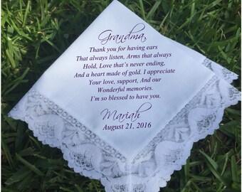 Wedding handkerchief grandma gift Gifts for Grandma, wedding gift grandmother gifts wedding keepsake PRINTED handkerchief gift ideas (H 045)