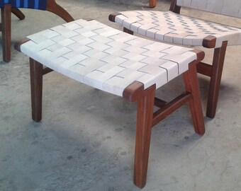Mid Century Modern Ottoman, Foot rest, Foot stool, Lounge Chair, Living Room, Handmade, Wood, Leather, woven, Custom, Relax,  furniture, den