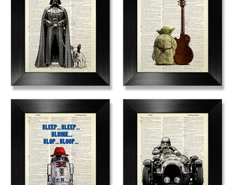 Star Wars POSTER, Star Wars Poster Set, STAR WARS Art, Star Wars Print Set of 4 Prints, Star Wars Wall Art, Fun Geek Star Wars Art Print Set
