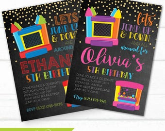 Bounce House Birthday Party Invitation, Jump Party, Trampoline, Jumping, Bounce House invite, Bounce Invite, Bounce invitations, invite