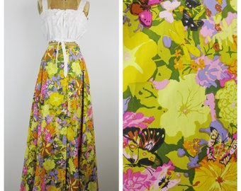Vintage 70s Skirt / 1970s Colorful Floral Butterfly Button Up Maxi Skirt / Medium