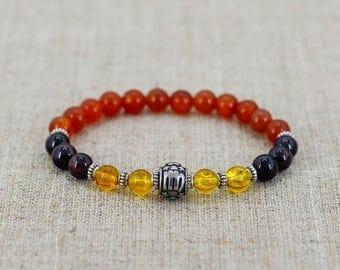 Crystals for healing stones Garnet bracelet Carnelian bracelet Virgo jewelry Virgo bracelet Zodiac bracelet Zodiac jewelry Gift-for-wife men