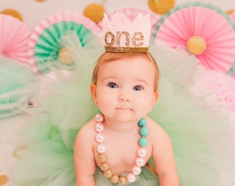 First Birthday Crown | 1st Birthday Girl Outfit | Felt Birthday Crown | Baby Girl First Birthday Hat | First Birthday Girl | Pink Gold