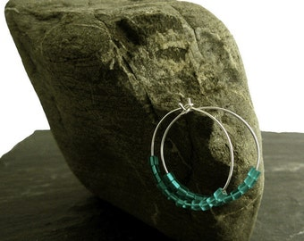 Hoop earrings, hoop earrings, Silver earrings, Sterling Silver teal, medium-sized hoop earrings silver hoop earrings with cubes, round earrings, petrol