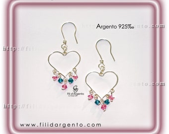 "Earrings ""Hearts Wire"" Sterling Silver 925 and Swarovski - Craft"