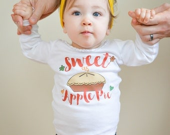 Sweet as Apple Pie - Sweet as Pie - Girls' Gifts - Toddler Shirts - Girls' Fitted Shirts - Long Sleeve Shirts - Baby Girls' Shirts - Apples