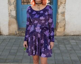 IN STOCK | Crystal Constellation Velvet long sleeve skater Dress | mystic crystals print