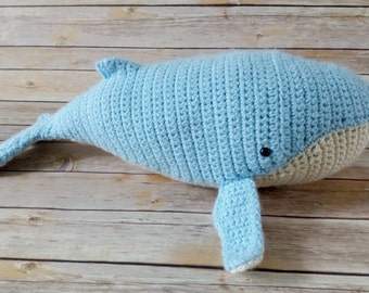 Humpback Whale - Stuffed Whale - Whale Plush - Whale Baby Shower - Whale Stuffed Animal - Blue Whale - Whale Toy - Crochet Whale Toy