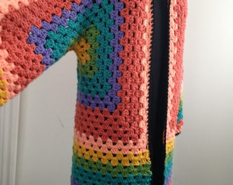 Crochet Granny Hexagonal Cardigan Sweater Coat, Rainbow Boho Hippie Gypsy Festival style for Fall and Winter, Gift for Her, Women and Teens