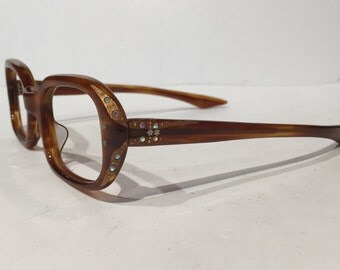 Vintage 60s Rhinestone Tortoise Shell Cat Eye Glasses Sunglasses Frames, NOS, 1960's Amber Rhinestone Tortoise Shell Cateye, New Old Stock