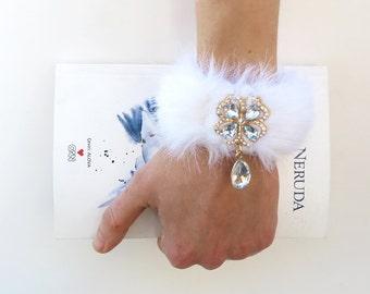 Diamond cuff bracelet, rhinestone cuff, fur cuff, scream queens kkt chanel6 inspired jewelry, clover dangle, bridesmaid cuff, clover charm