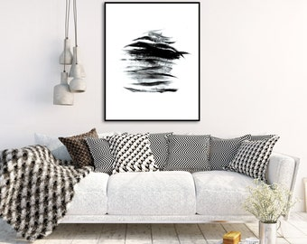 Abstract Art Print Minimalist Painting Black and White Wall Art Instant Download Printable Art Digital Download Wall Art Prints