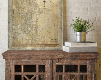 City of Chicago Map, Chicago Map Canvas, Antiqued Chicago Map, Canvas Wall Decor, Chicago Wall Decor, Map of the City of Chicago Canvas