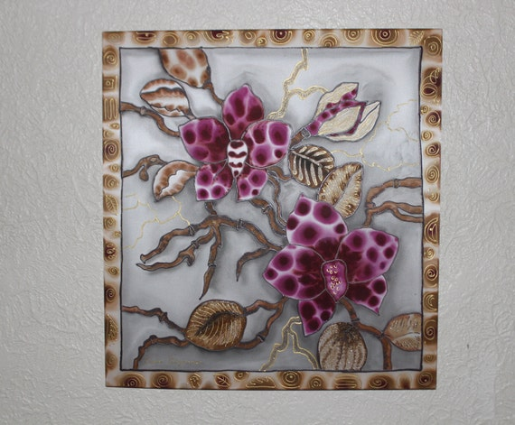 Original painting on silk,Purple Orchids,Gold leaves,Grey gold purple Batik painting,Floral painting,Wall hanging,Silk art,Wall art,Etsy