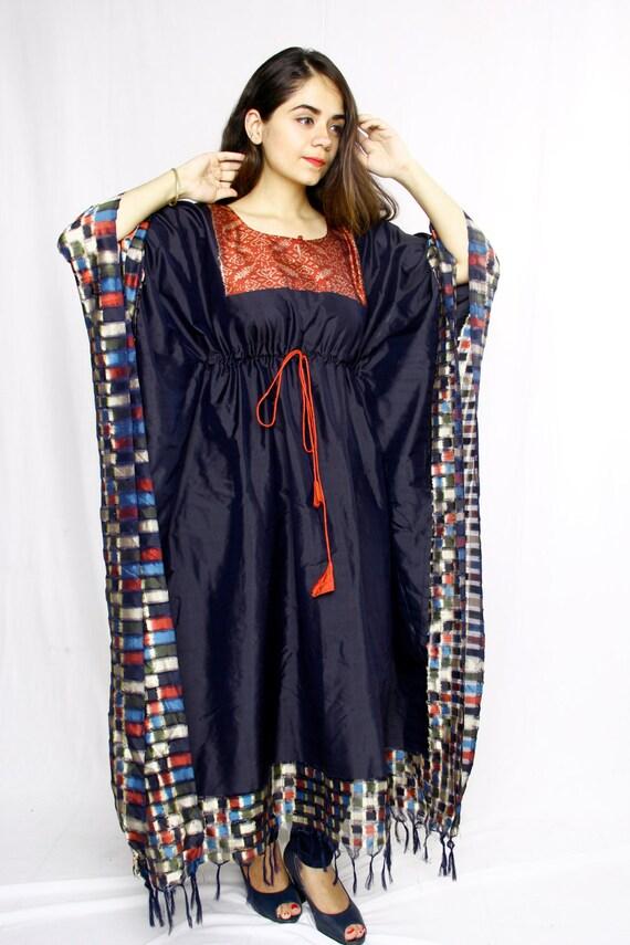 Ikat Kaftan Dress With Zali Weave