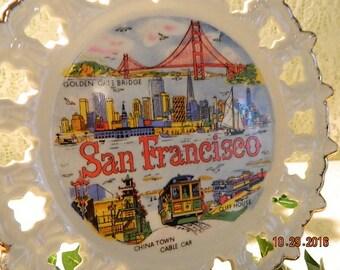 Vintage San Francisco Souvenir Plate, Vacation Souvenir San Francisco California, Bright Colors, Golden Gate Bridge, Cable Car, China Town