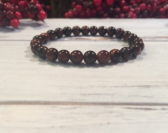 A Grade Red Tiger Eye Bracelet, 6mm small bead Red Tiger Eye stacking bracelet, wrist mala beads for will power, focus, goal setting