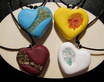 Handmade clay heart - SUMMER!
