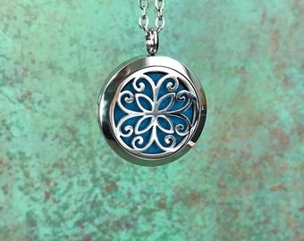 30mm Stainless Steel Essential Oil Diffuser Necklace, Aromatherapy, Homeopathy, Natural Healing, Celtic Design