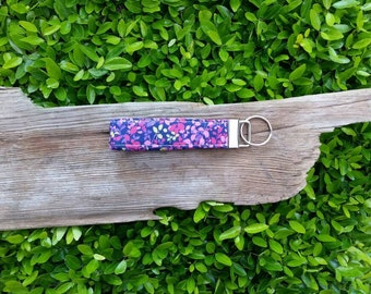 Purple pink and lime green floral key fob