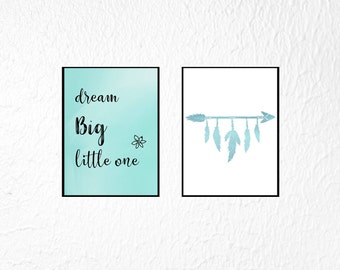 Baby Boy Nursery Wall Art, Boy Nursery Print Set, Set of 2 Prints, Dream Big Little One, Boy Nursery Wall Decor, Set Nursery Prints Boy