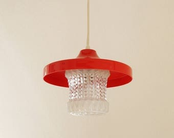 Small red hanging lamp, 70s Germany. ERCO luminaires. Vintage lamp. Mid century ceiling. Hallway, kitchen. Lamp, Europe