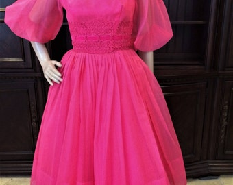 Beautiful Fuchsia Pink 1950's Formal Tea Length Gown