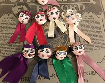Flapper girl button pin 1920s inspired handmade - Betty
