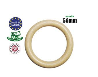 10 Natural Organic Wooden Rings 56mm no holes. eco organic wood teething rings. baby safe teething wood. bunny ears diy teething toy #120013