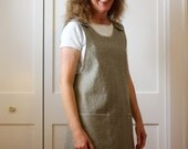 Cross Back Apron Jumper Tunic Cover Up, Beautiful Linen-Cotton, Made to Order XS, S, M, L, 1X, 2X, 3X