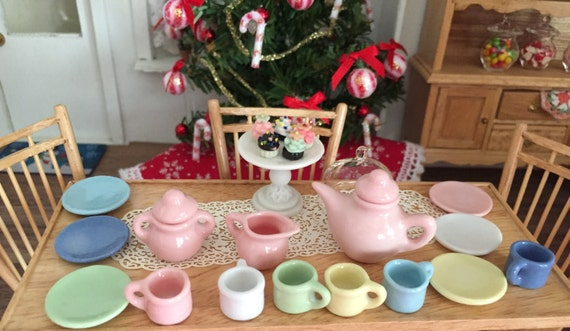Miniature Art Deco Tea Set, 17 Pieces, Dollhouse Miniatures, 1:12 Scale, Dollhouse Tea Set, Pink, Blue, Yellow, White
