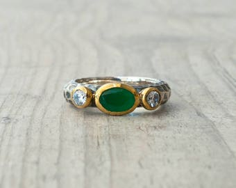 Emerald Ring, Emerald Engagement Ring, Silver and Gold Green Emerald and CZ Ring, Promise Ring, Statement Green Stone Ring, Emerald Jewelry
