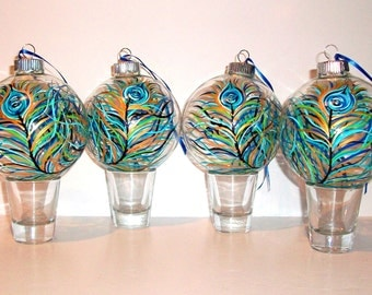 Peacock Feather Glass Ornaments Christmas Balls Hand Painted Set of 4 - 4 inch Christmas Decorations Baubles Peacock Feather Gift Wedding
