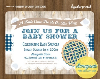 Cutie Pie Baby Shower Invitation   gingham plaid woodgrain   cherry red or blueberry rustic baby shower   baby boy girl printable invitation