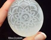 "1.7"" Sacred SELENITE Palm Stone Oval w OM Mandala Symbol + Bag Laser Etched Design Healing Crystal and Stone Aum Yoga Gift #SF02"