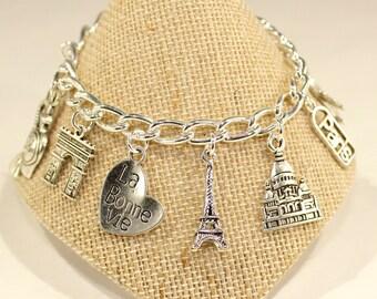 Paris Charm Bracelet Paris Bracelet France Bracelet Paris Bracelet Travel Bracelet Eiffel Tower Charm Love Paris Gift Love Travel Paris Gift