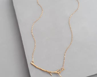 Branch Necklace - Layering Minimal Necklace - Tree Necklace - Gold Minimal Necklace - Nature Necklace - Twig Necklace - Layering Necklace