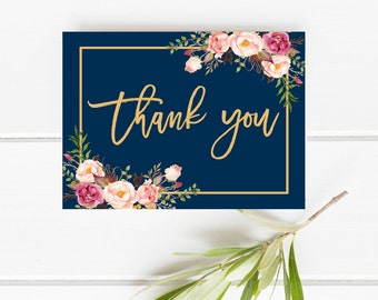 Printable Thank you, Blush Thank you card, Thank you card, Navy and gold thank you card, Floral Thank you card, Wedding thank you card