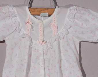 0-3mo: Vintage Baby Girl One Piece Coverall, Shabby Chic Baby Girl,  1970's Baby Girl One Piece Outfit, Easter Outfit